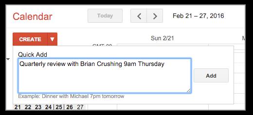 Google Calendar Quick Add