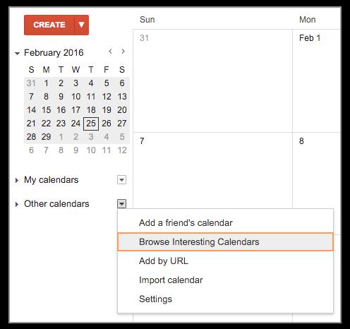 Google Calendar International Holidays