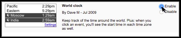 Google Calendar Clock Settings