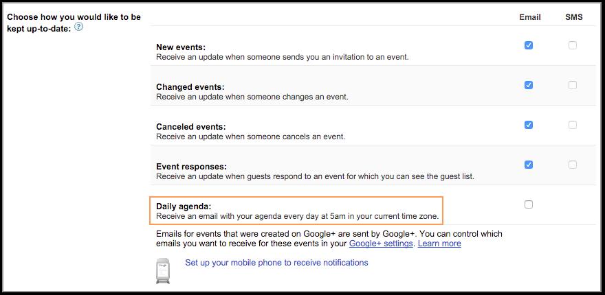 Google Calendar Email Settings