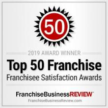 2019 Award winner for Top 50 Franchise in Franchisee Satisfaction Awards