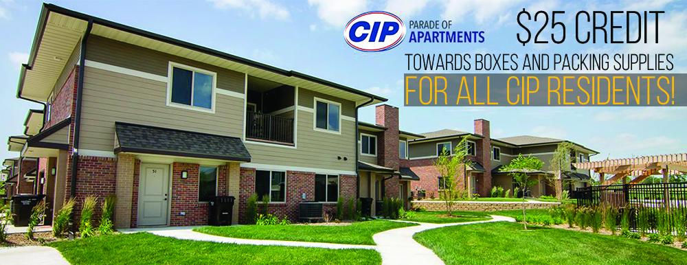 Image for promotional 25 dollar Credit for all CIP apartments residents towards boxes and packing supplies