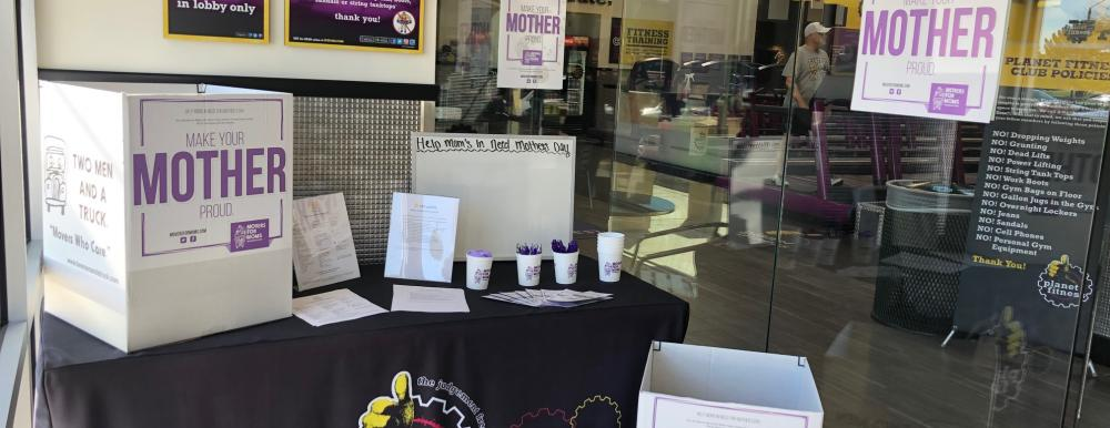 Movers for Moms collection boxes at Planet Fitness