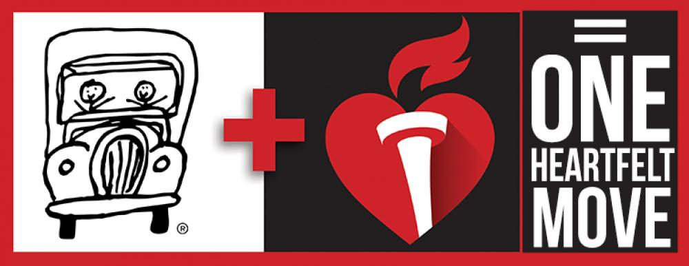 two men and a truck logo with american heart association logo