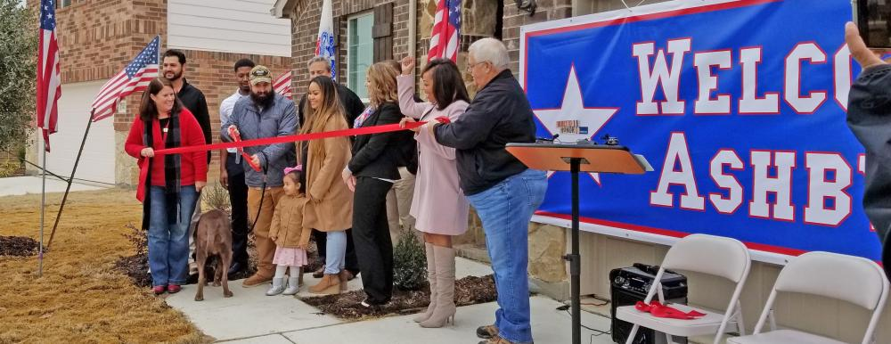 Ashby family ribbon cutting - Operation Finally Home 2018