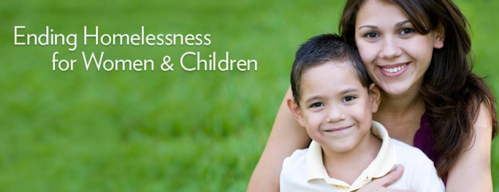 """barrett foundation banner that reads """"ending homelessness for women and children"""" featuring a mother with her son"""