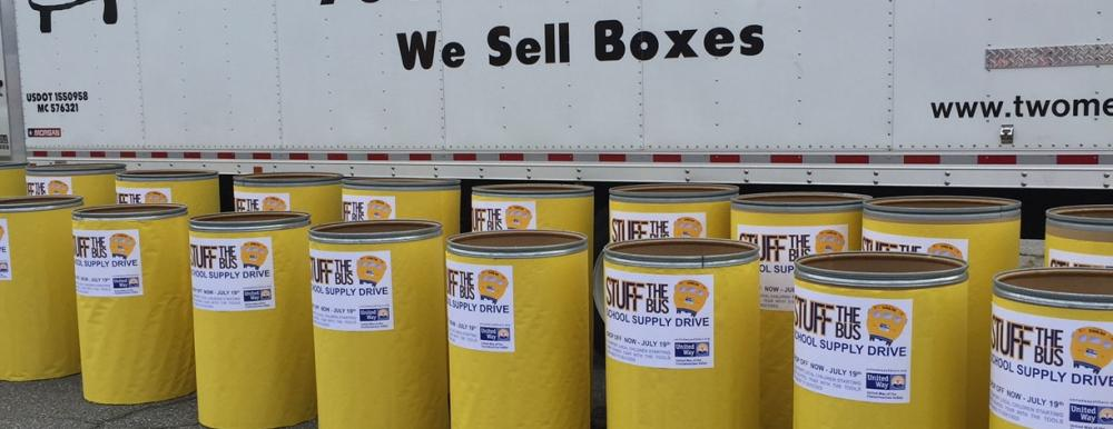 collection barrels for stuff the bus charity