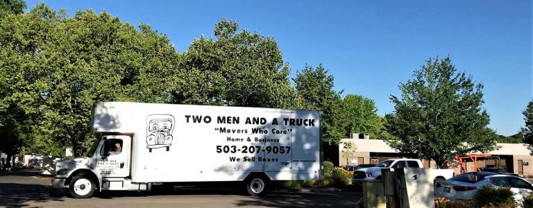 moving truck parked in a beaverton neighborhood
