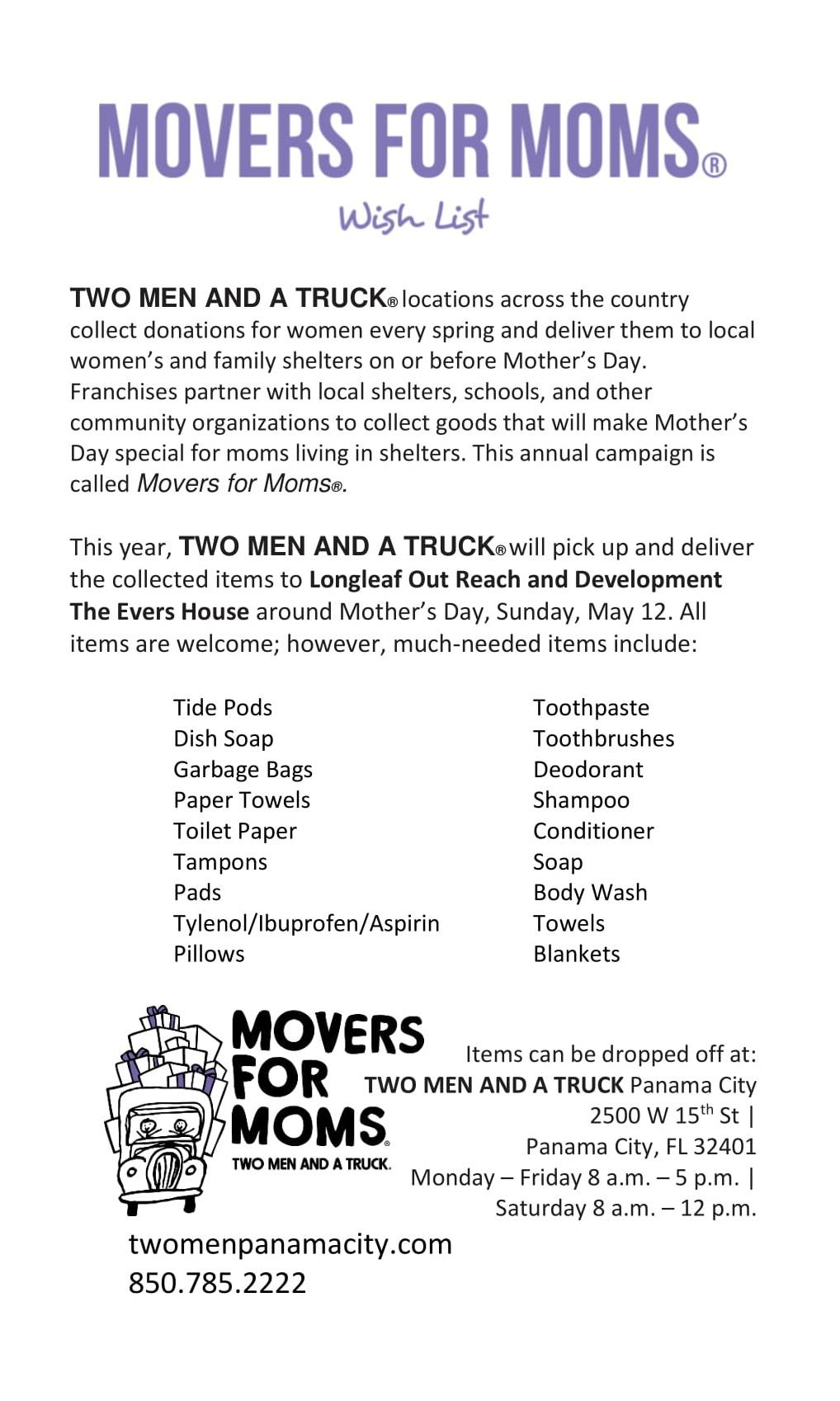 2019 TWO MEN AND A TRUCK Panama City Movers for Moms Wish List