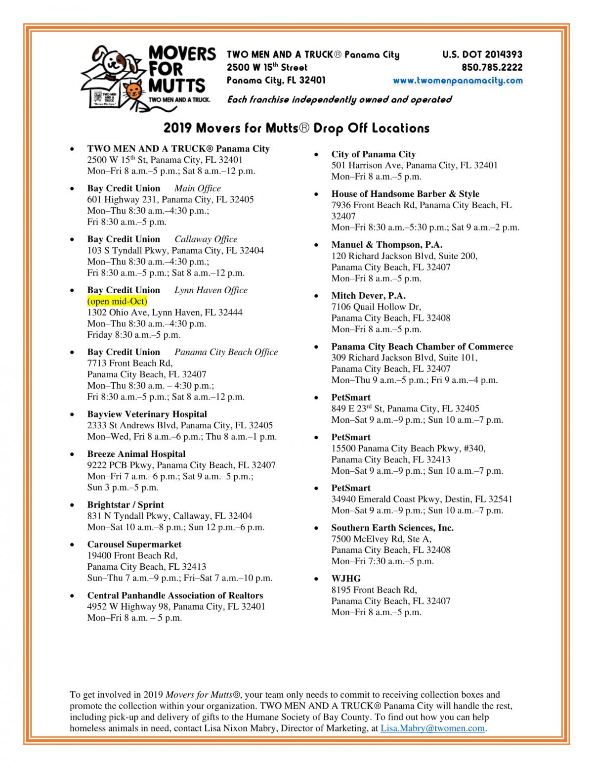 2019 Movers for Mutts Drop Off Locations