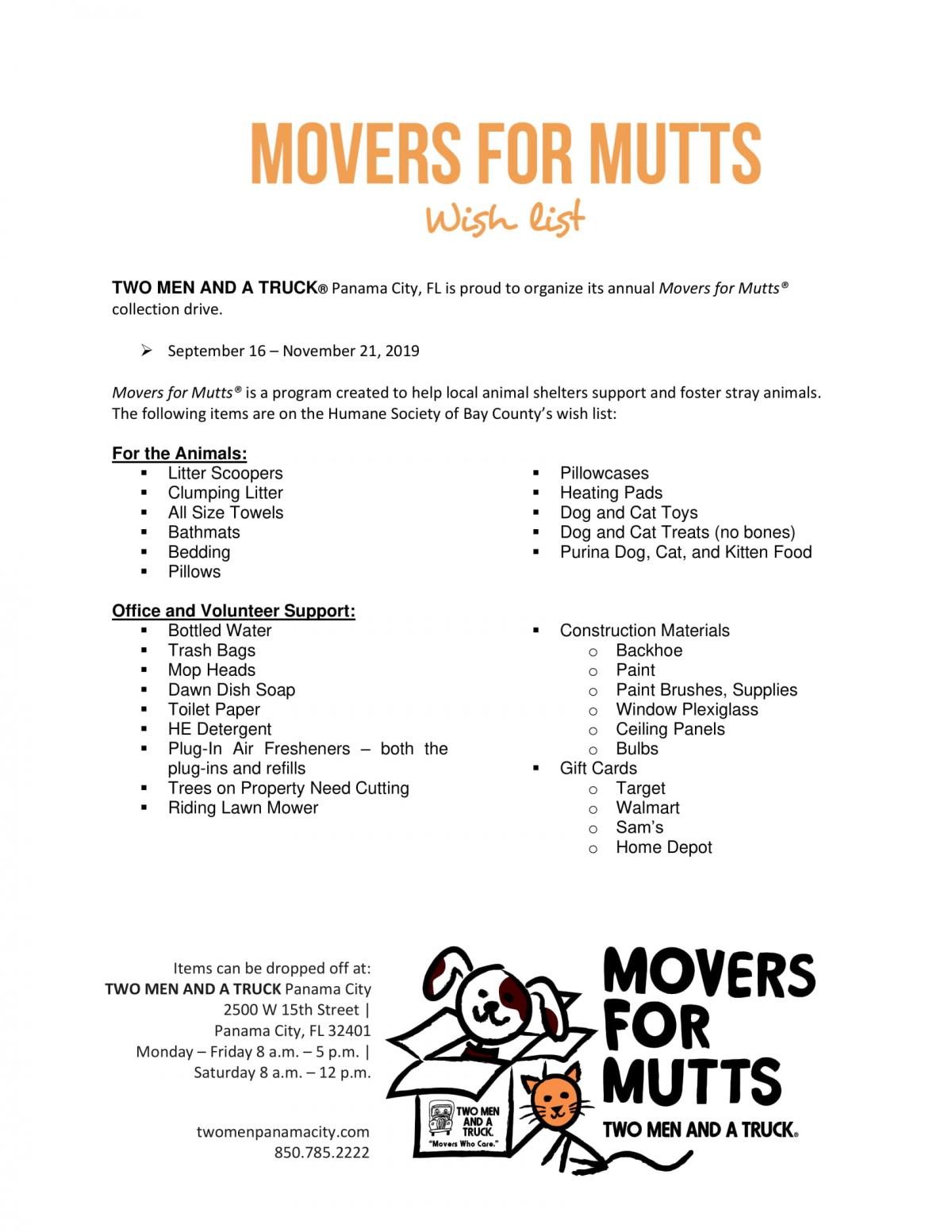 2019 Movers for Mutts Wish List
