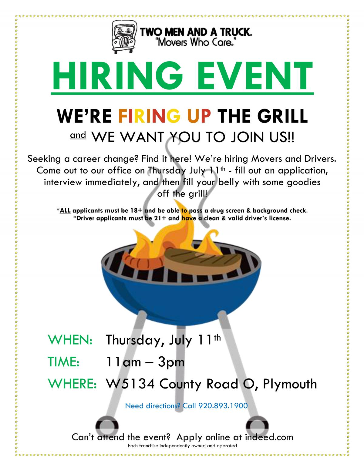 Cookout and Hiring Event Plymouth WI