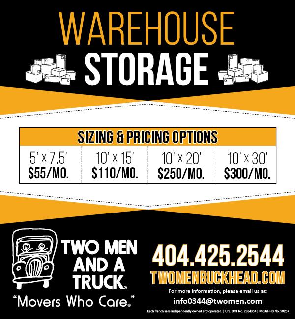 flyer that lists storage prices