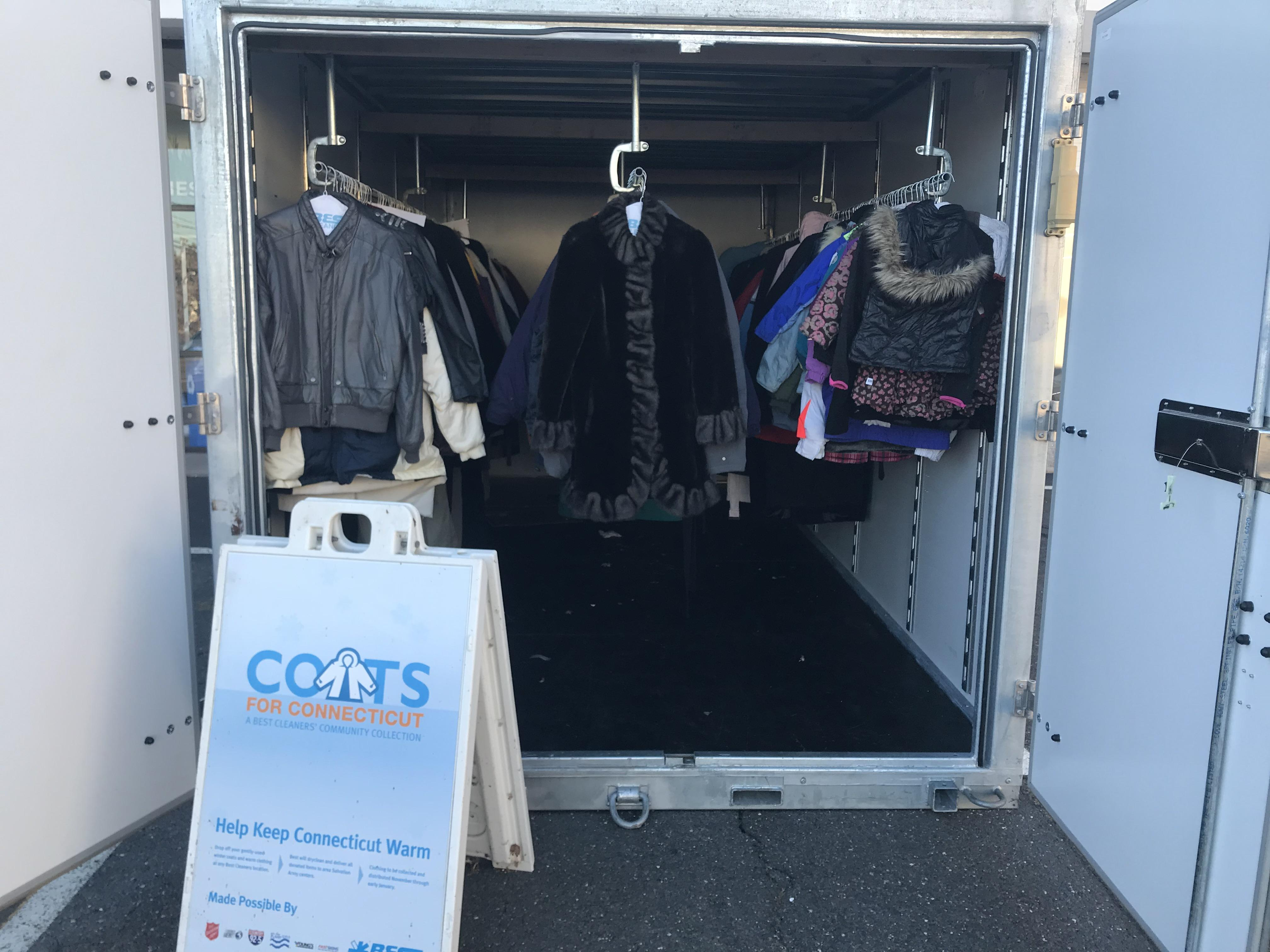 storage container being used for coats for Connecticut charity