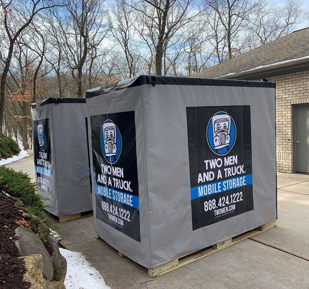 Photo of two Mobile Storage containers in a customer's driveway