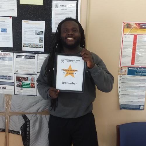 Darnell Woodall, mover of the month for two men and a truck alexandria