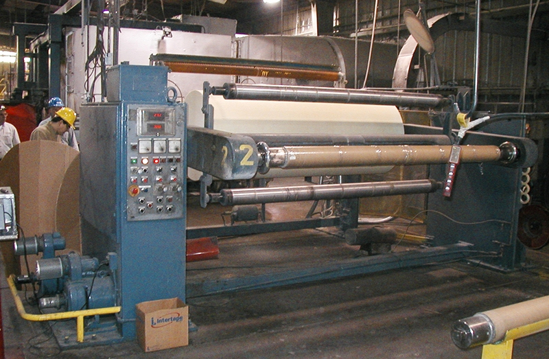 tension control on an asphalt manufacturing line to prevent breaks