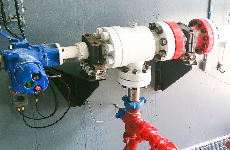 electrically activated choke for large pump test stands