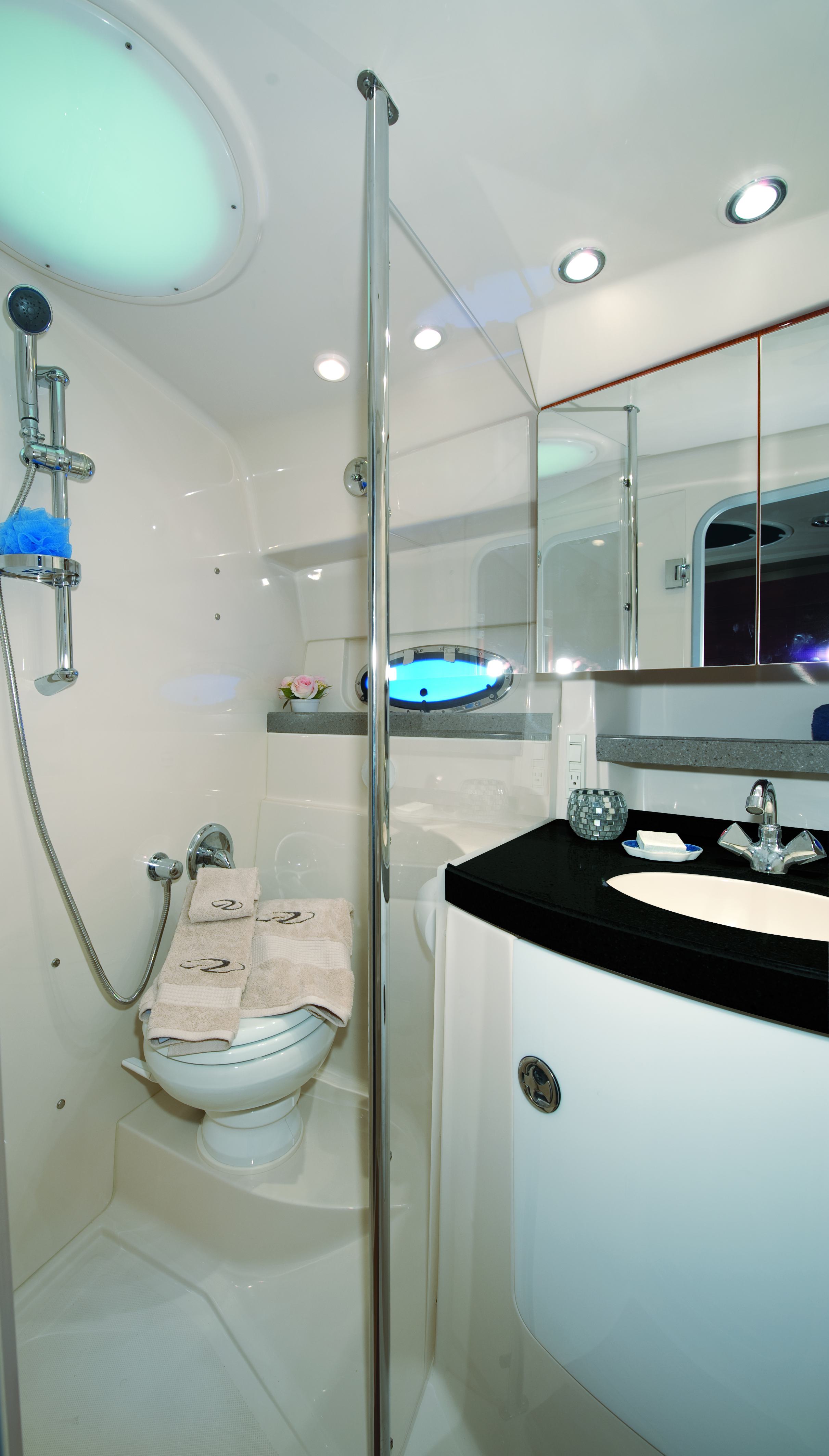 This Head Boasts An Acrylic Shower Door And Solid Surface Counter
