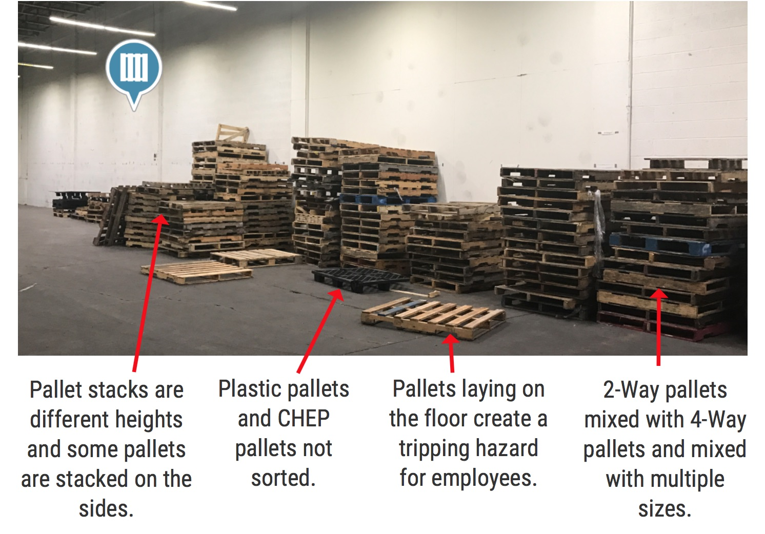 Multiple Size Stacked Wood Pallets