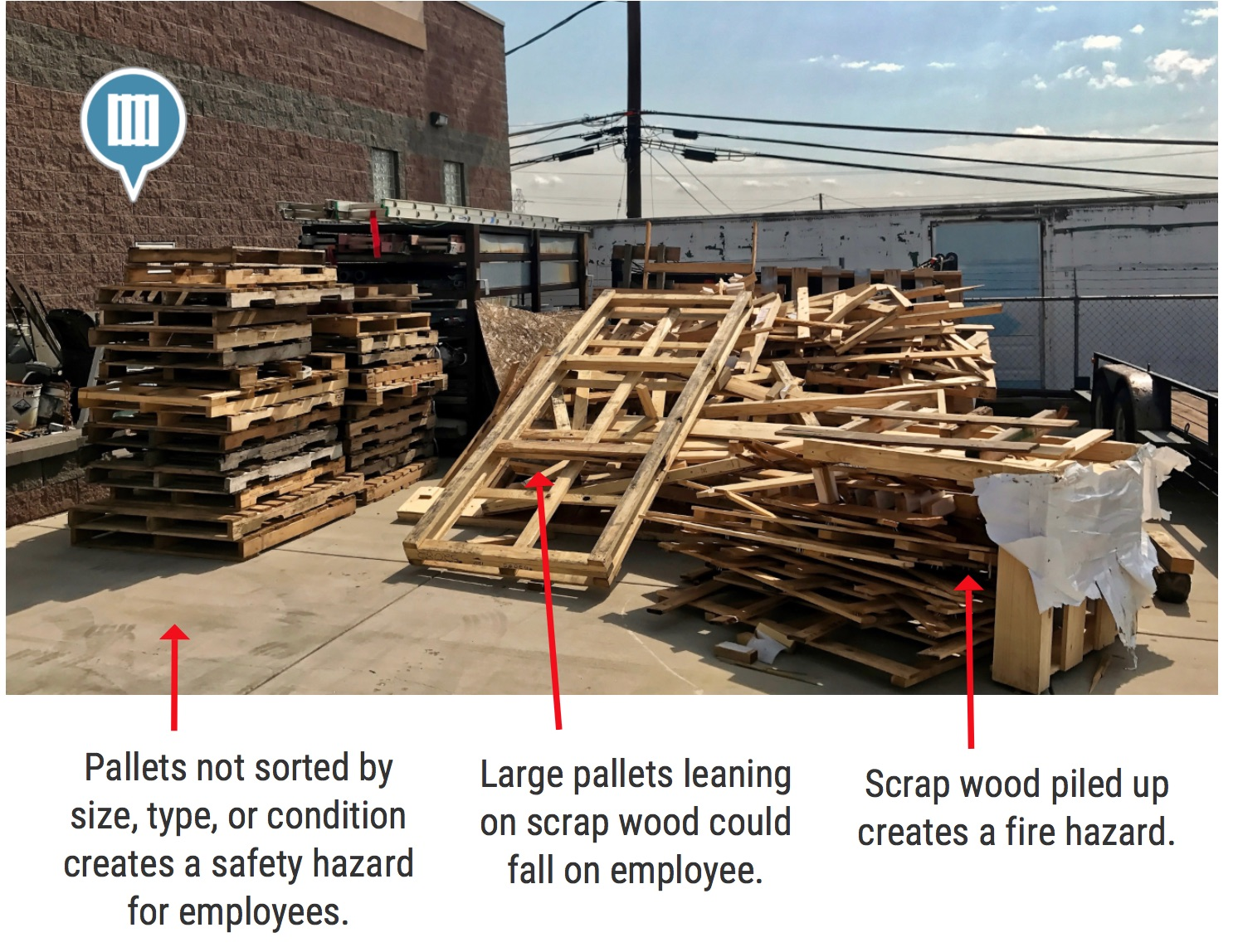 Scrap Pallet Wood Fire Hazard