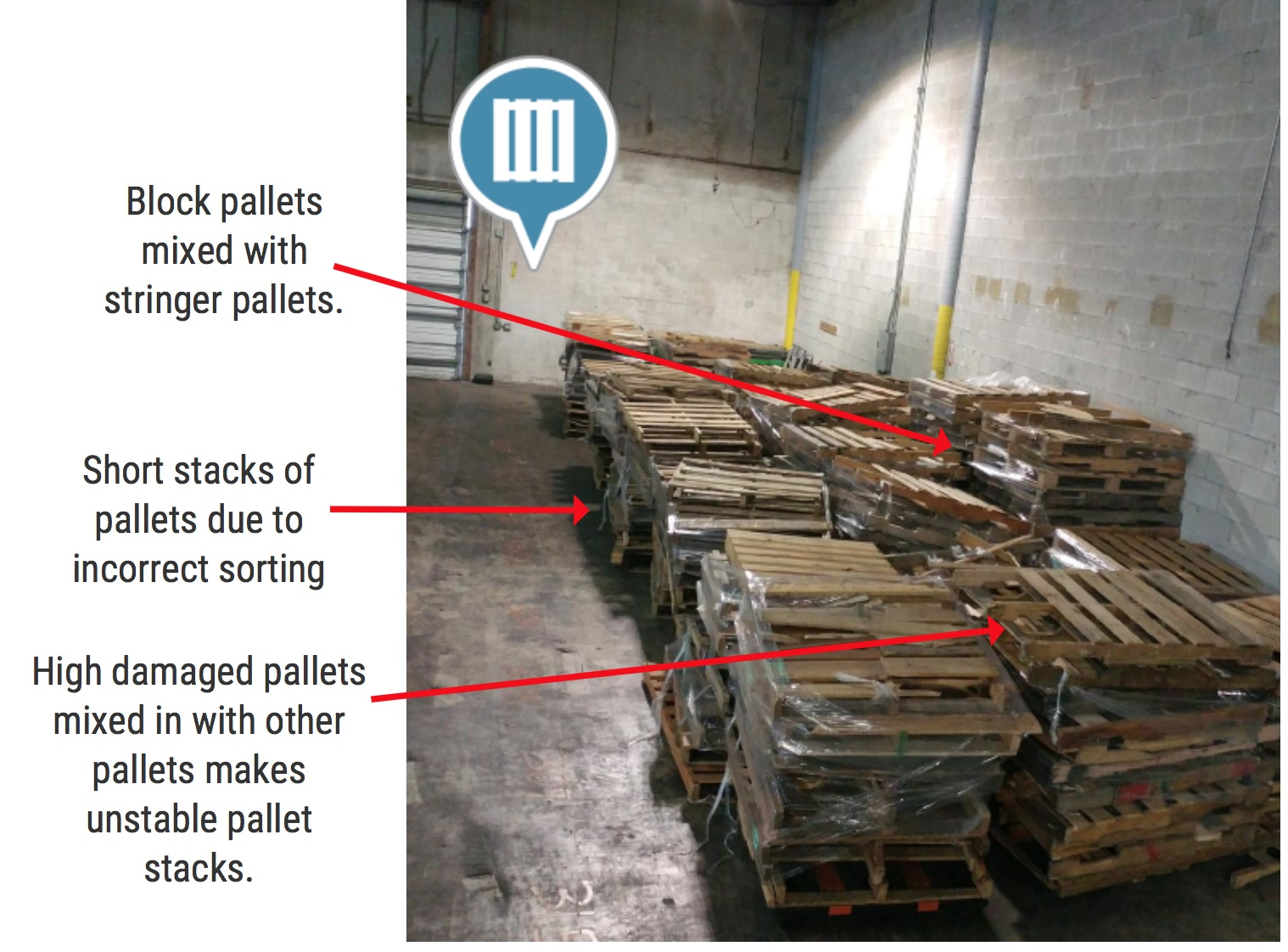 Short Stacks of Pallets