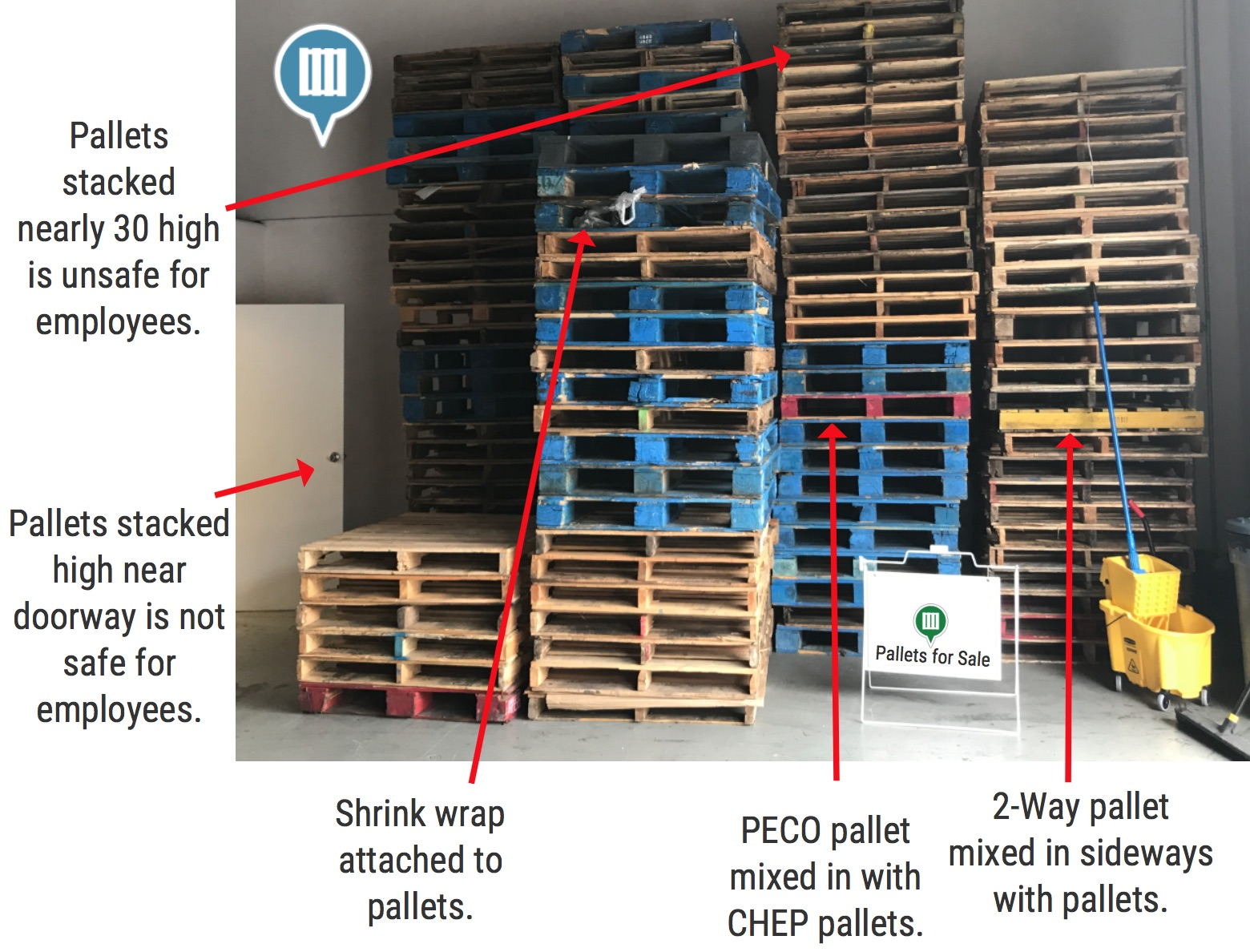 Wood Pallets Stacked Near Doorway Hazard