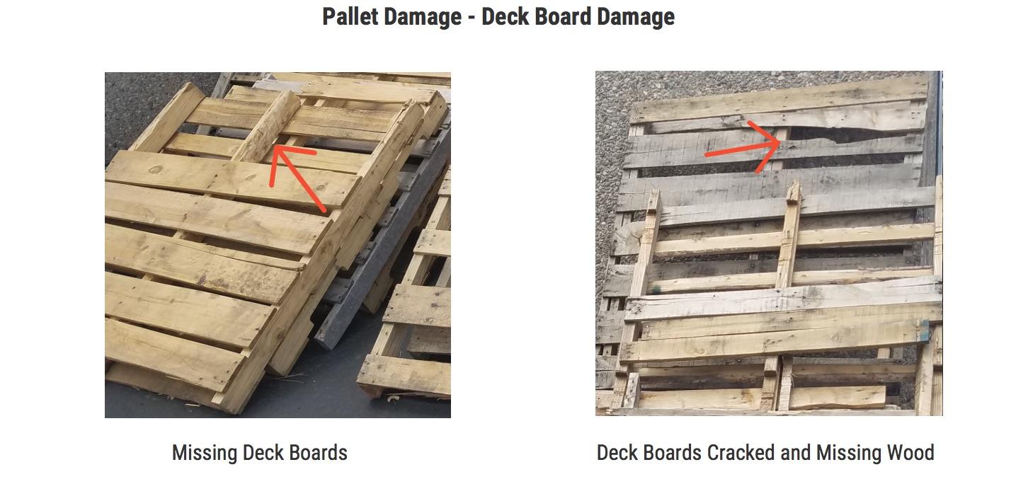Damaged Pallet Deck Boards