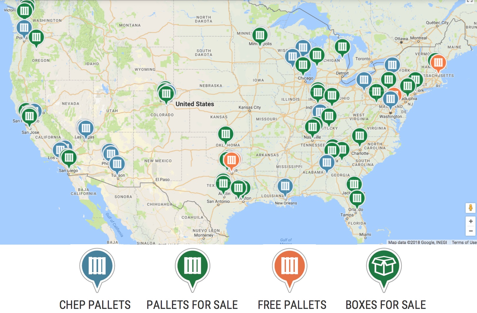 United States Pallet Locations