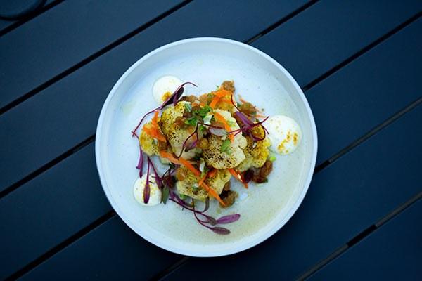 Curry Roasted Cauliflower, with Lemon Yogurt and Raisin relish