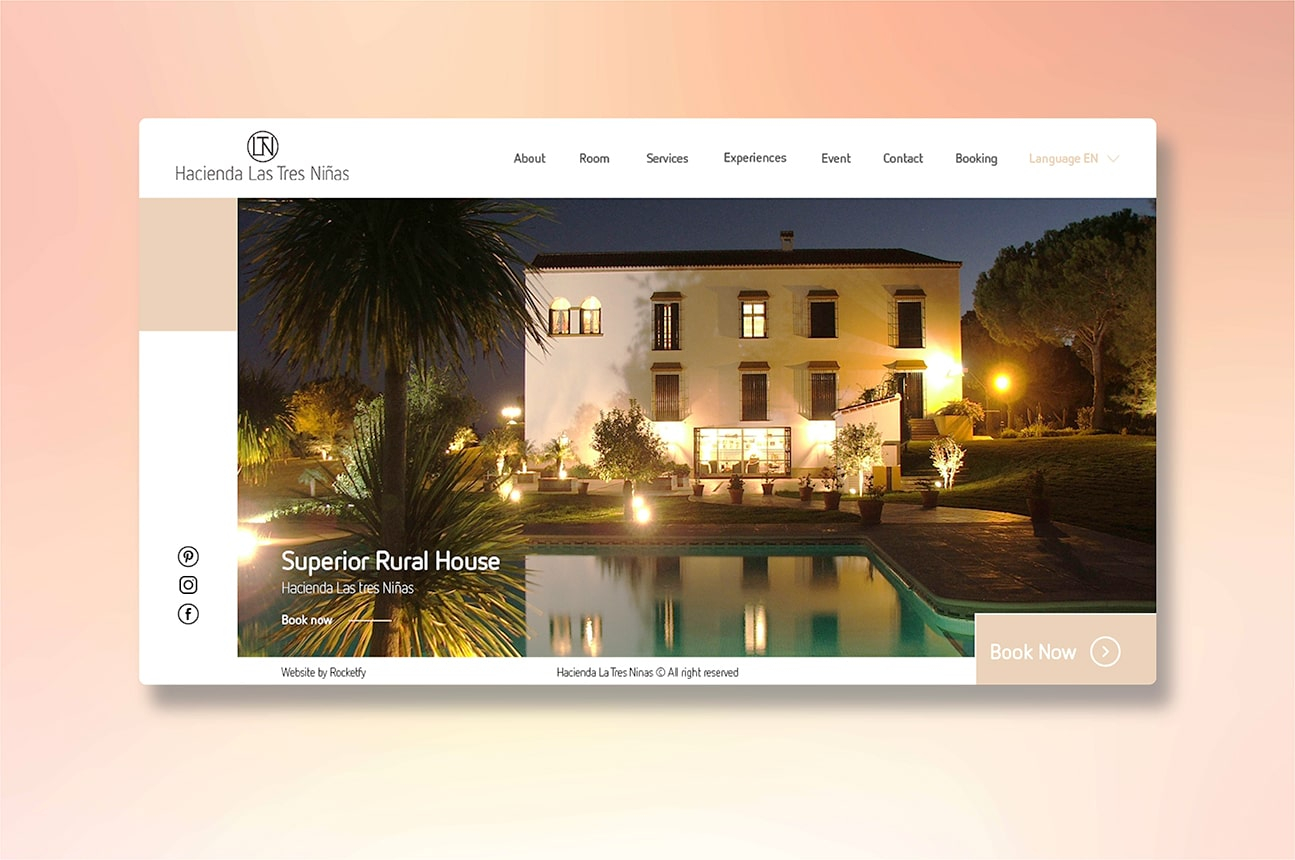 Specialized website design for hotels by Rocketfy