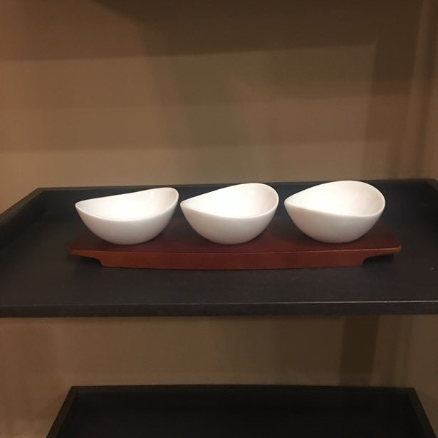serving trio - appetizers - with wood tray