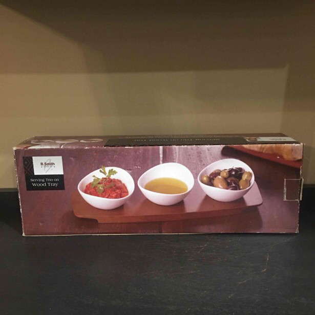 serving trio - appetizers - with wood tray-1