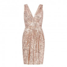 Badgley Mischka Rose Gold Sequin Cocktail Dress