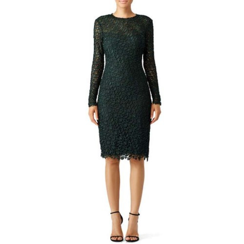 Monique Lhuillier forest green cocktail dress