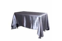 "Silver – Rectangle - Tablecloth – Satin – 90""x156"""