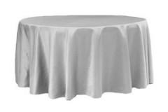 Silver – Round – Tablecloth – Lamour 120""