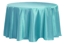 Turquoise - Round - Tablecloth - Satin 120""