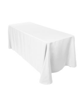 "White - Rectangle Tablecloth - Poly- 90""x156"""