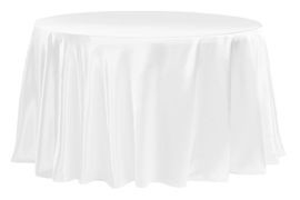 White – Round - Tablecloth - Satin 120""