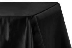 "Black – Rectangle - Tablecloth – Satin – 90""x156"""