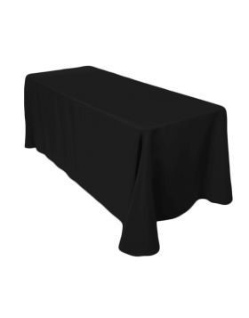 "Black - Rectangle Tablecloth – Poly - 90""x132"""