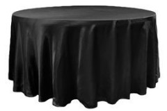Black – Round - Tablecloth - Satin 120""