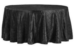 Black – Round - Tablecloth – Pintuck - 120""