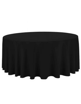 """Black – Round Tablecloth – Poly – 132"""""""