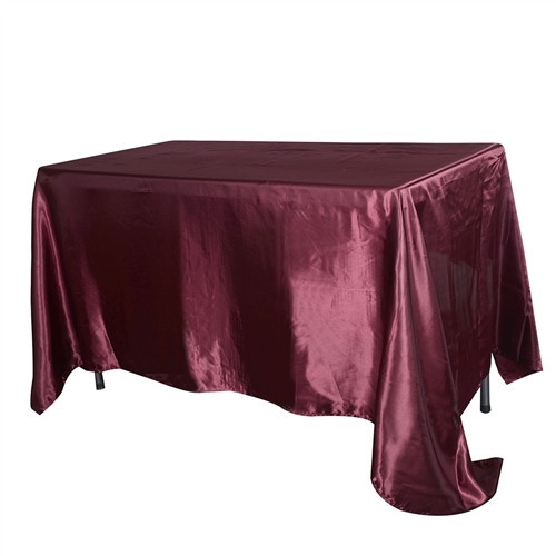 "Burgundy – Rectangle - Tablecloth – Satin – 90""x156"""