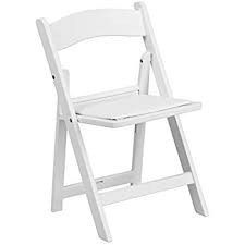 Chair - Plastic Folding White Resin w Cushion