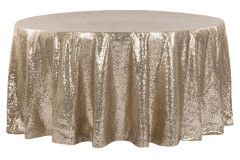 Champagne - Round Tablecloth - Sequins – 120""