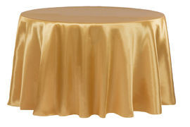 gold – round - tablecloth - satin 120""