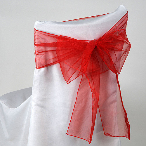 Red – Chair Sash - Organza